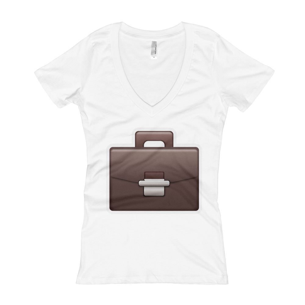 Women's Emoji V-Neck - Briefcase-Just Emoji