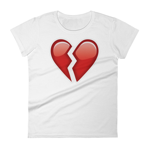 Women's Emoji T-Shirt - Broken Heart-Just Emoji