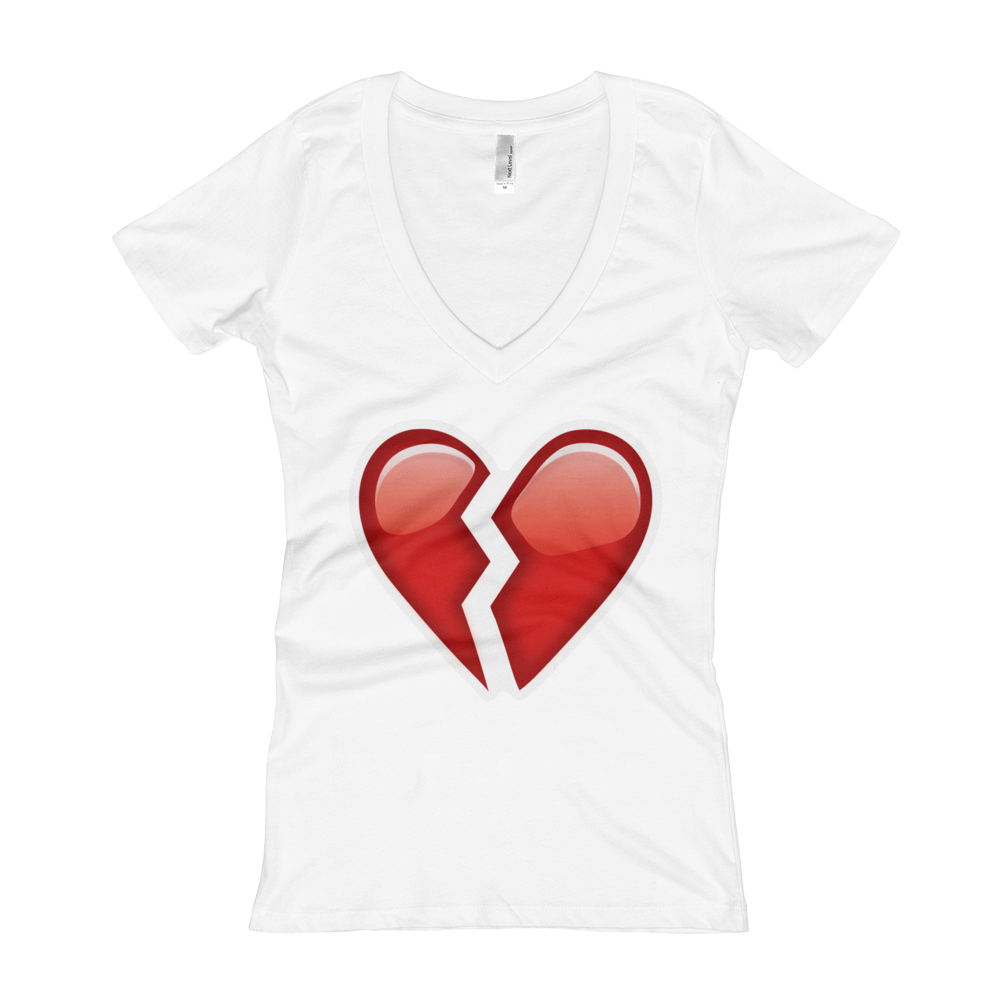 Women's Emoji V-Neck - Broken Heart-Just Emoji