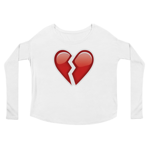 Women's Emoji Long Sleeve T-Shirt - Broken Heart-Just Emoji