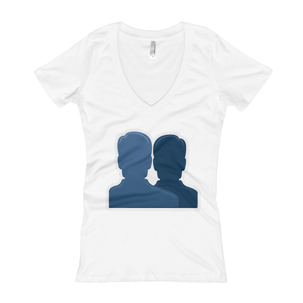 Women's Emoji V-Neck - Busts In Silhouette-Just Emoji