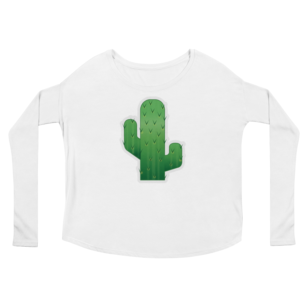 Women's Emoji Long Sleeve T-Shirt - Cactus-Just Emoji