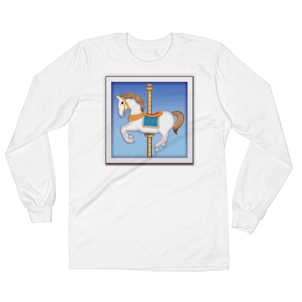 Men's Emoji Long Sleeve T-Shirt - Carousel Horse-Just Emoji