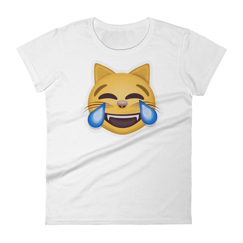 Women's Emoji T-Shirt - Cat Face With Tears Of Joy-Just Emoji