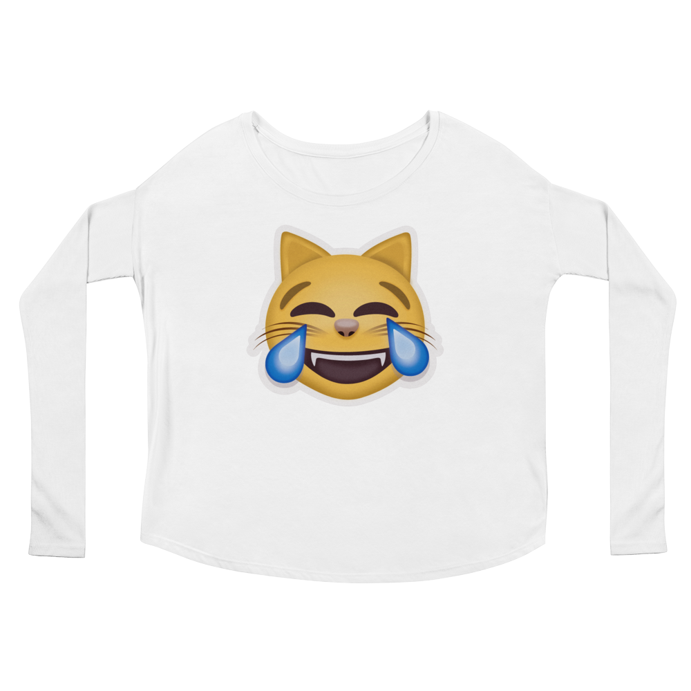 Women's Emoji Long Sleeve T-Shirt - Cat Face With Tears Of Joy-Just Emoji