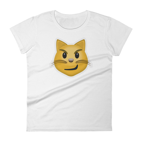 Women's Emoji T-Shirt - Cat Face With Wry Smile-Just Emoji