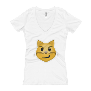 Women's Emoji V-Neck - Cat Face With Wry Smile-Just Emoji