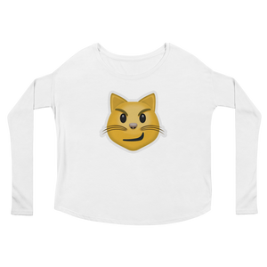 Women's Emoji Long Sleeve T-Shirt - Cat Face With Wry Smile-Just Emoji