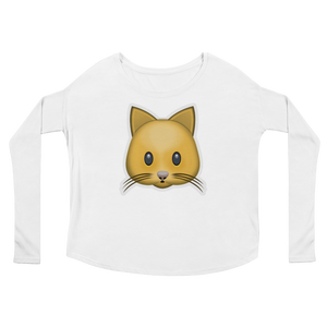 Women's Emoji Long Sleeve T-Shirt - Cat Face-Just Emoji
