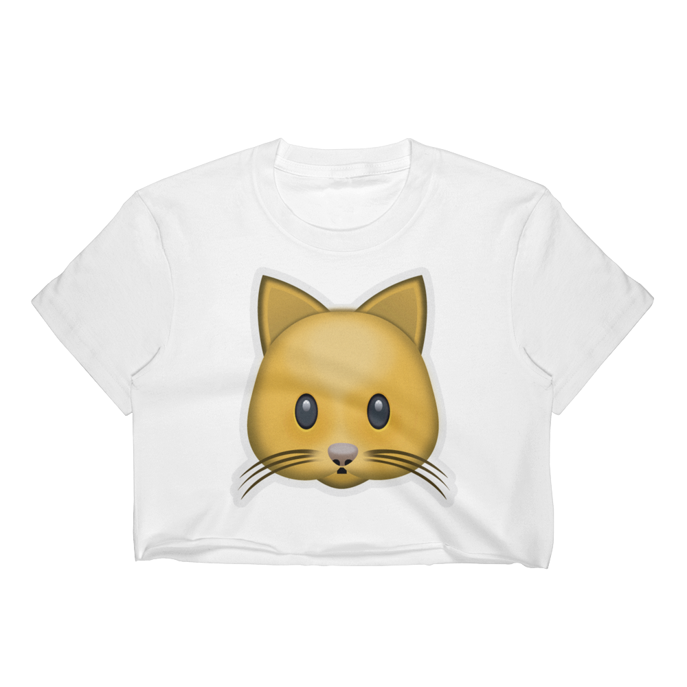 Emoji Crop Top T-Shirt - Cat Face-Just Emoji