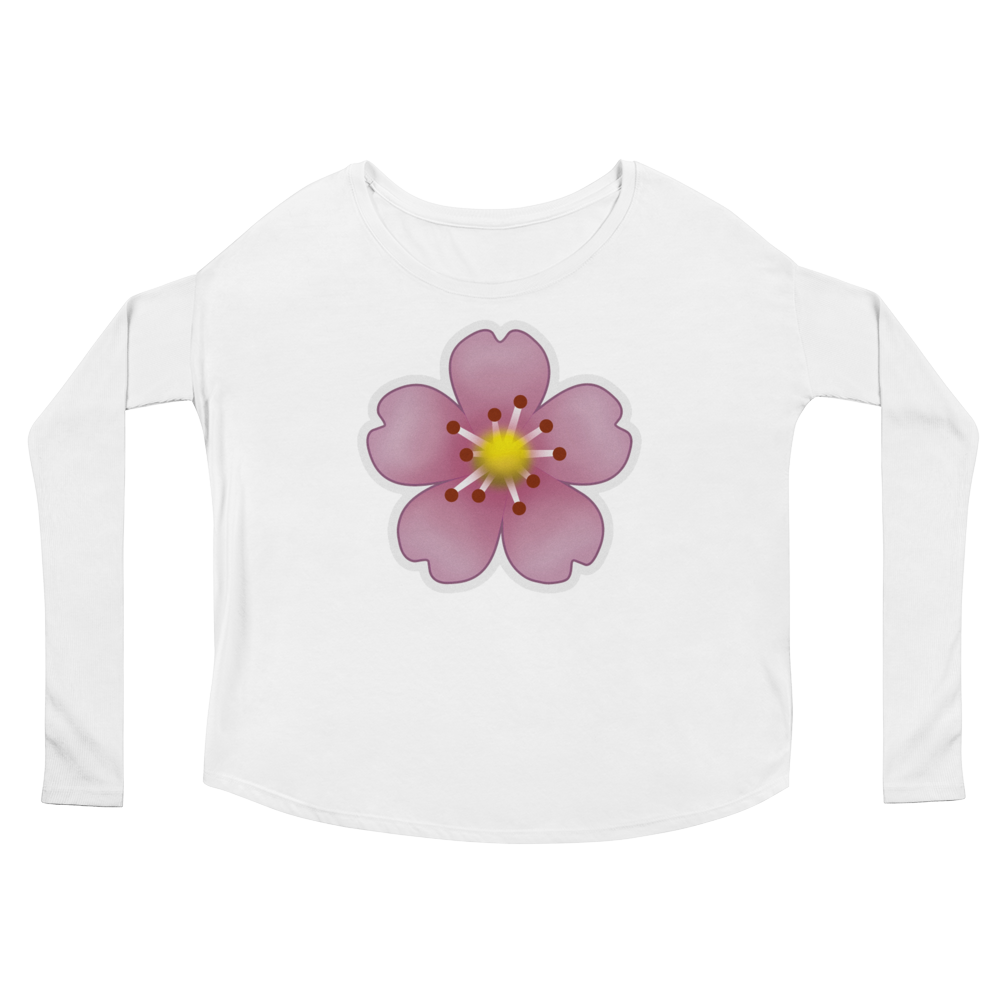 Women's Emoji Long Sleeve T-Shirt - Cherry Blossom-Just Emoji