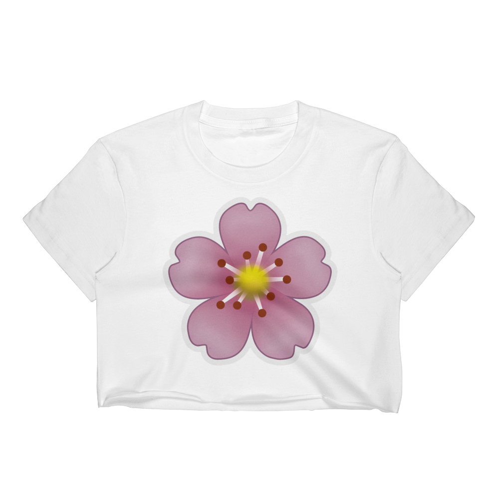 Emoji Crop Top T-Shirt - Cherry Blossom-Just Emoji