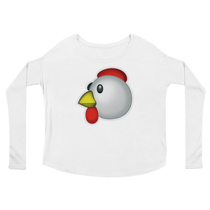 Women's Emoji Long Sleeve T-Shirt - Chicken-Just Emoji