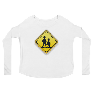 Women's Emoji Long Sleeve T-Shirt - Children Crossing-Just Emoji