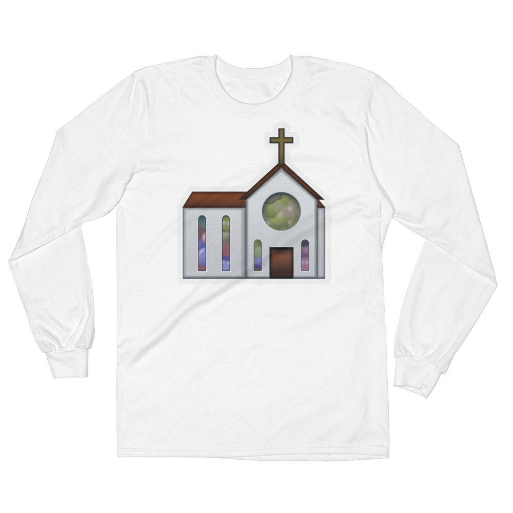 Men's Emoji Long Sleeve T-Shirt - Church-Just Emoji