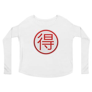 Women's Emoji Long Sleeve T-Shirt - Circled Ideograph Advantage-Just Emoji