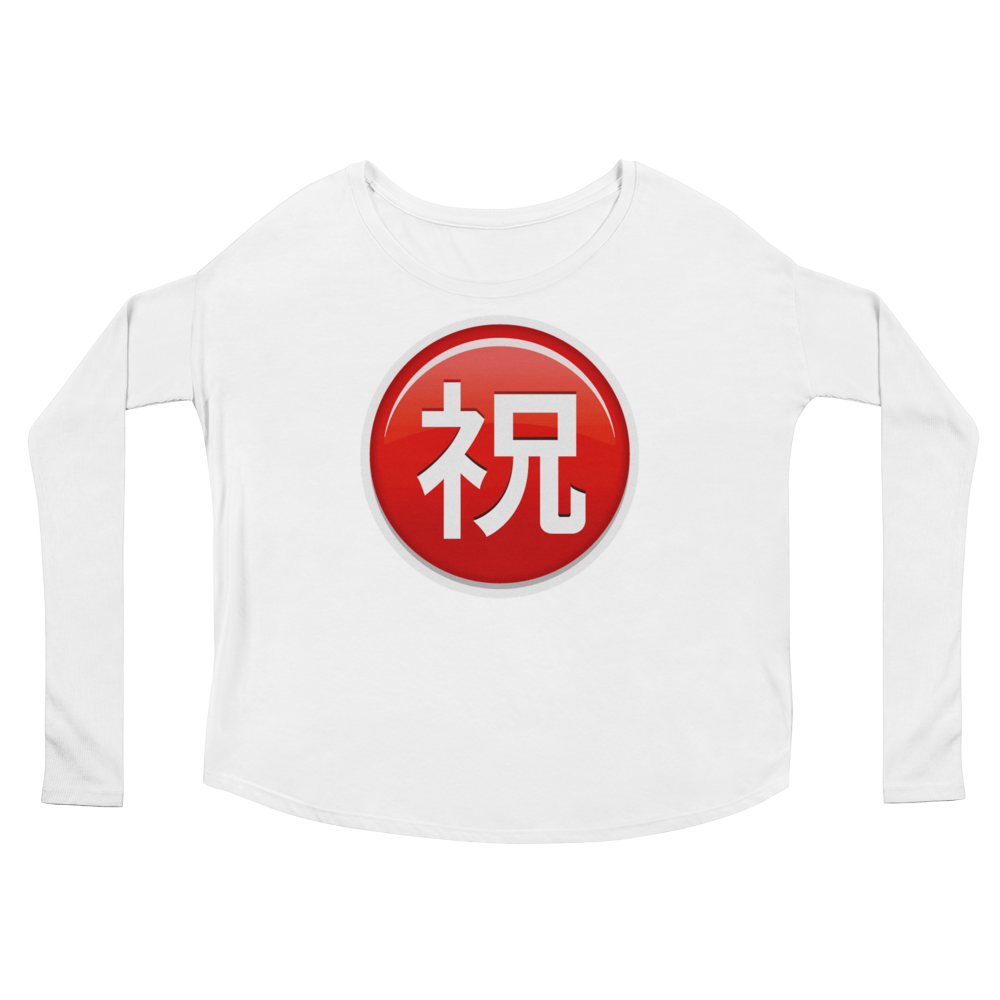 Women's Emoji Long Sleeve T-Shirt - Circled Ideograph Congratulations-Just Emoji