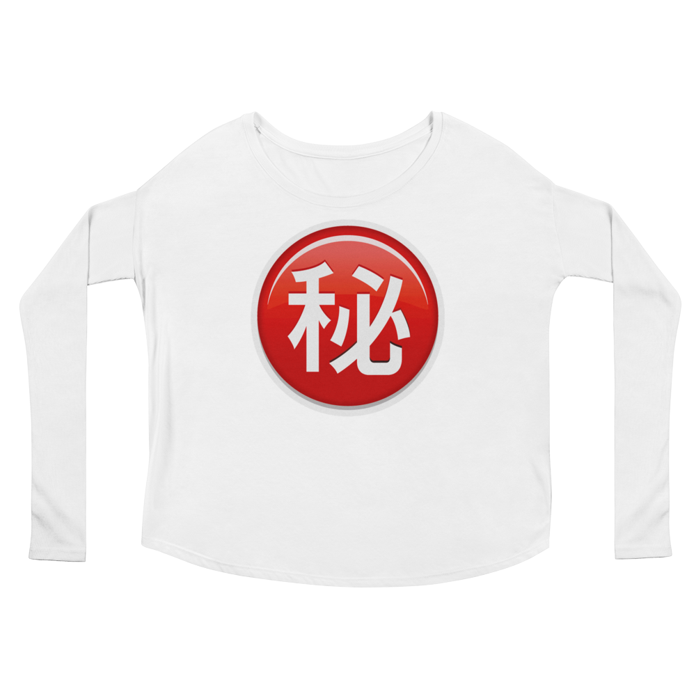 Women's Emoji Long Sleeve T-Shirt - Circled Ideograph Secret-Just Emoji