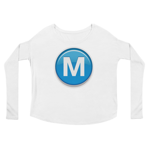 Women's Emoji Long Sleeve T-Shirt - Circled Capital Letter M-Just Emoji