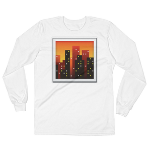 Men's Emoji Long Sleeve T-Shirt - Cityscape At Dusk-Just Emoji