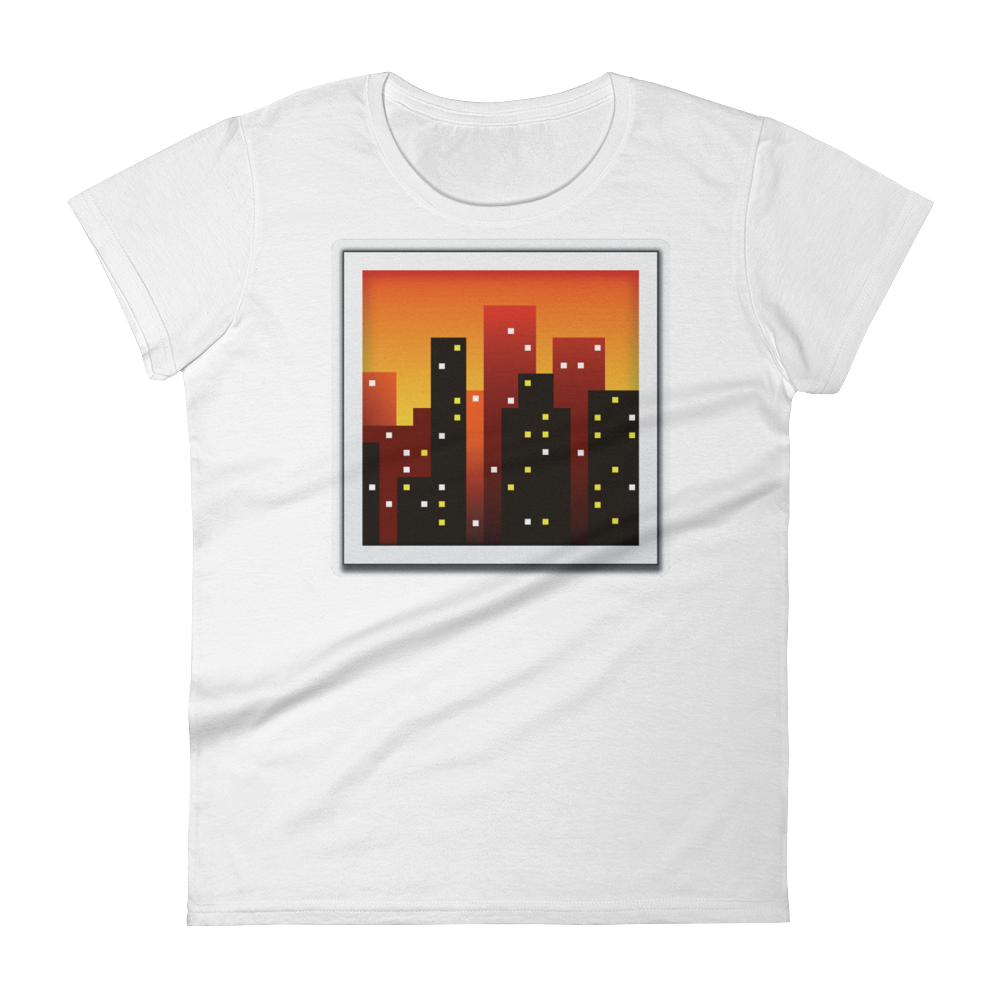 Women's Emoji T-Shirt - Cityscape At Dusk-Just Emoji