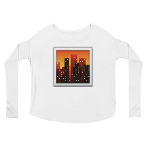 Women's Emoji Long Sleeve T-Shirt - Cityscape At Dusk-Just Emoji