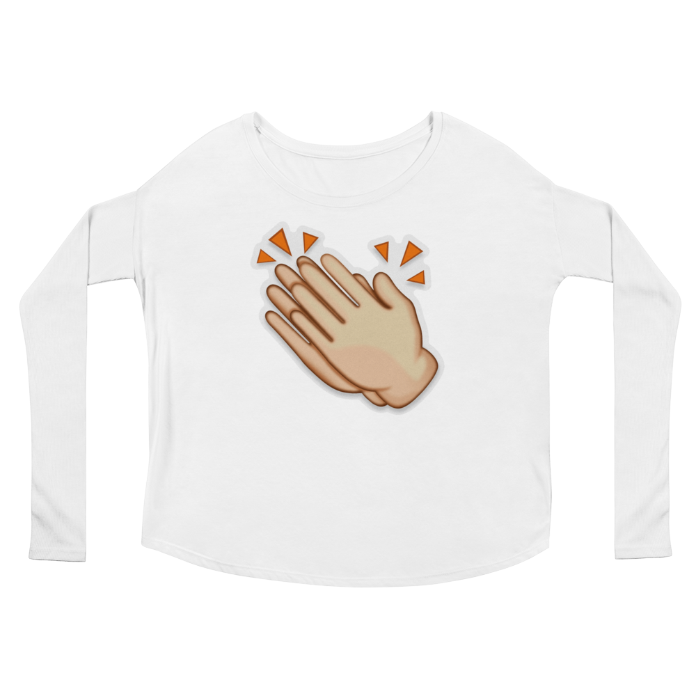 Women's Emoji Long Sleeve T-Shirt - Clapping Hands Sign-Just Emoji