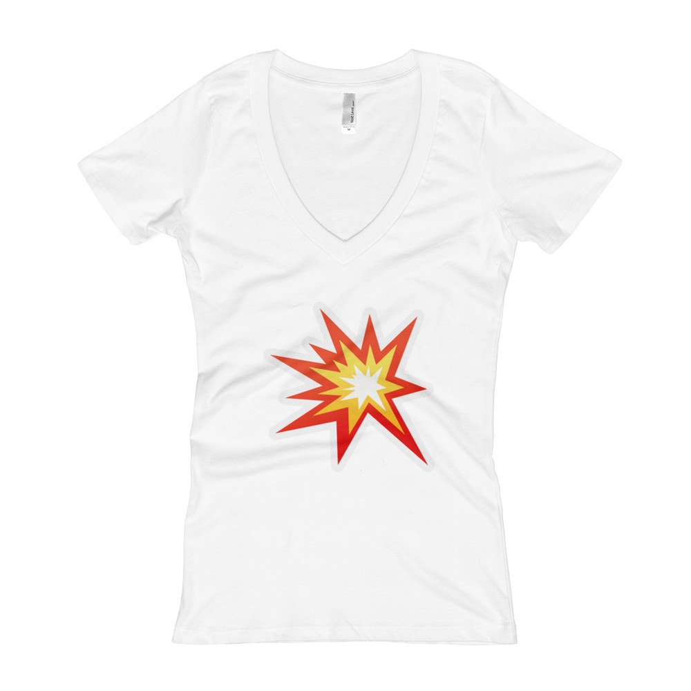 Women's Emoji V-Neck - Collision Symbol-Just Emoji