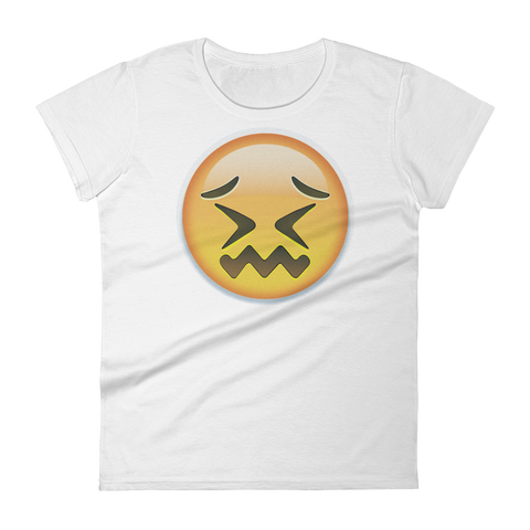 Women's Emoji T-Shirt - Confounded Face-Just Emoji