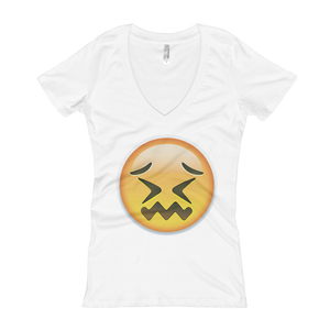 Women's Emoji V-Neck - Confounded Face-Just Emoji