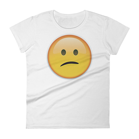 Women's Emoji T-Shirt - Confused Face-Just Emoji