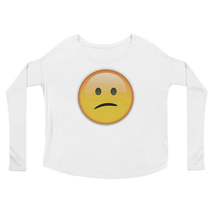 Women's Emoji Long Sleeve T-Shirt - Confused Face-Just Emoji