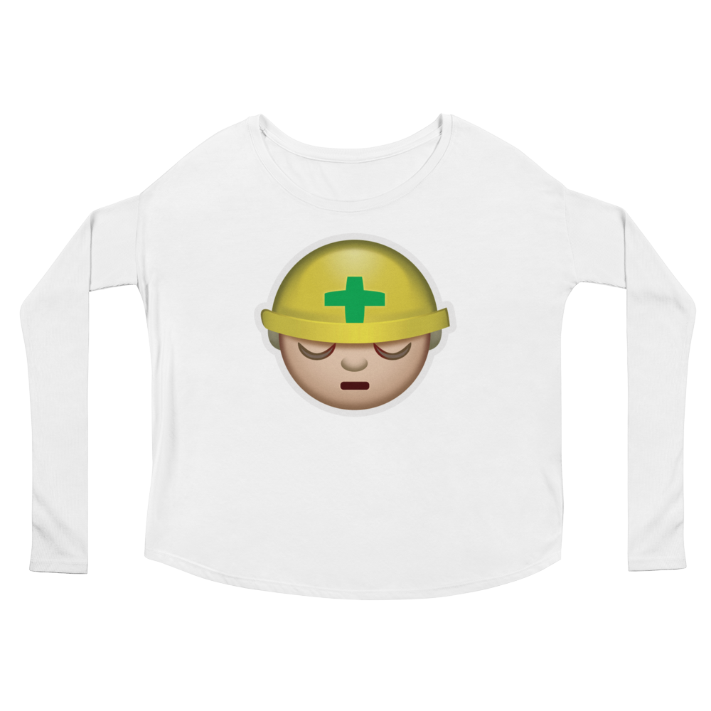 Women's Emoji Long Sleeve T-Shirt - Construction Worker-Just Emoji