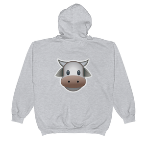 Emoji Zip Hoodie - Cow Face-Just Emoji