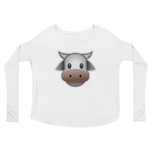 Women's Emoji Long Sleeve T-Shirt - Cow Face-Just Emoji