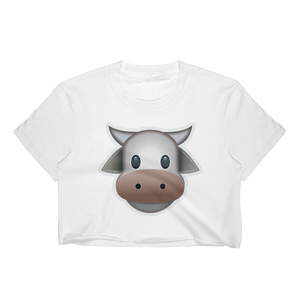 Emoji Crop Top T-Shirt - Cow Face-Just Emoji