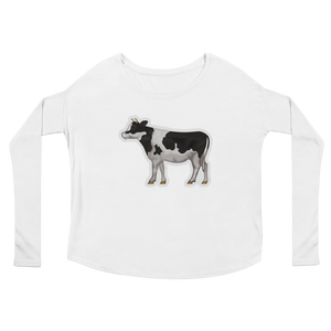 Women's Emoji Long Sleeve T-Shirt - Cow-Just Emoji