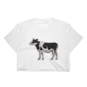 Emoji Crop Top T-Shirt - Cow-Just Emoji