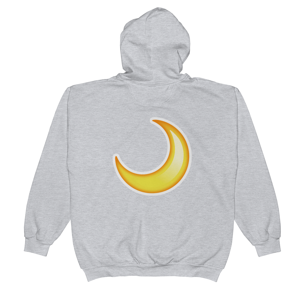 Emoji Zip Hoodie - Crescent Moon-Just Emoji