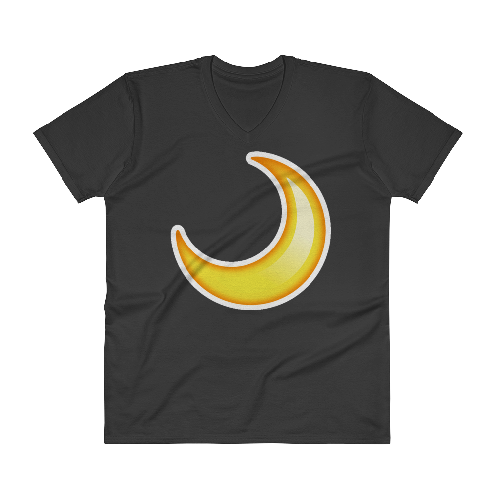 Men's Emoji V-Neck - Crescent Moon-Just Emoji