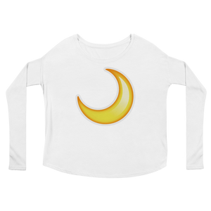 Women's Emoji Long Sleeve T-Shirt - Crescent Moon-Just Emoji