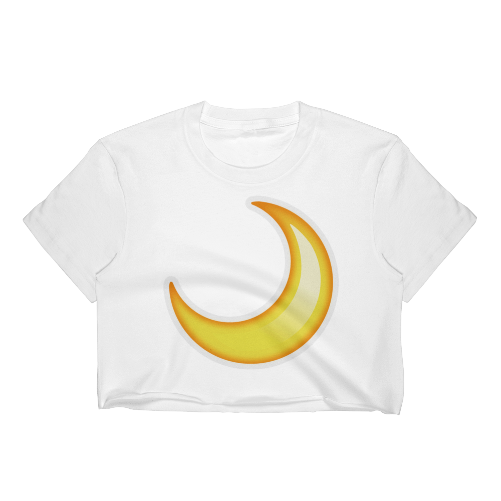 Emoji Crop Top T-Shirt - Crescent Moon-Just Emoji