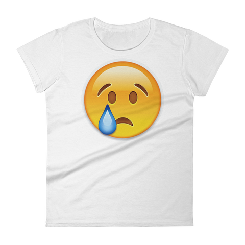Women's Emoji T-Shirt - Crying Face-Just Emoji