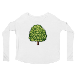 Women's Emoji Long Sleeve T-Shirt - Deciduous Tree-Just Emoji