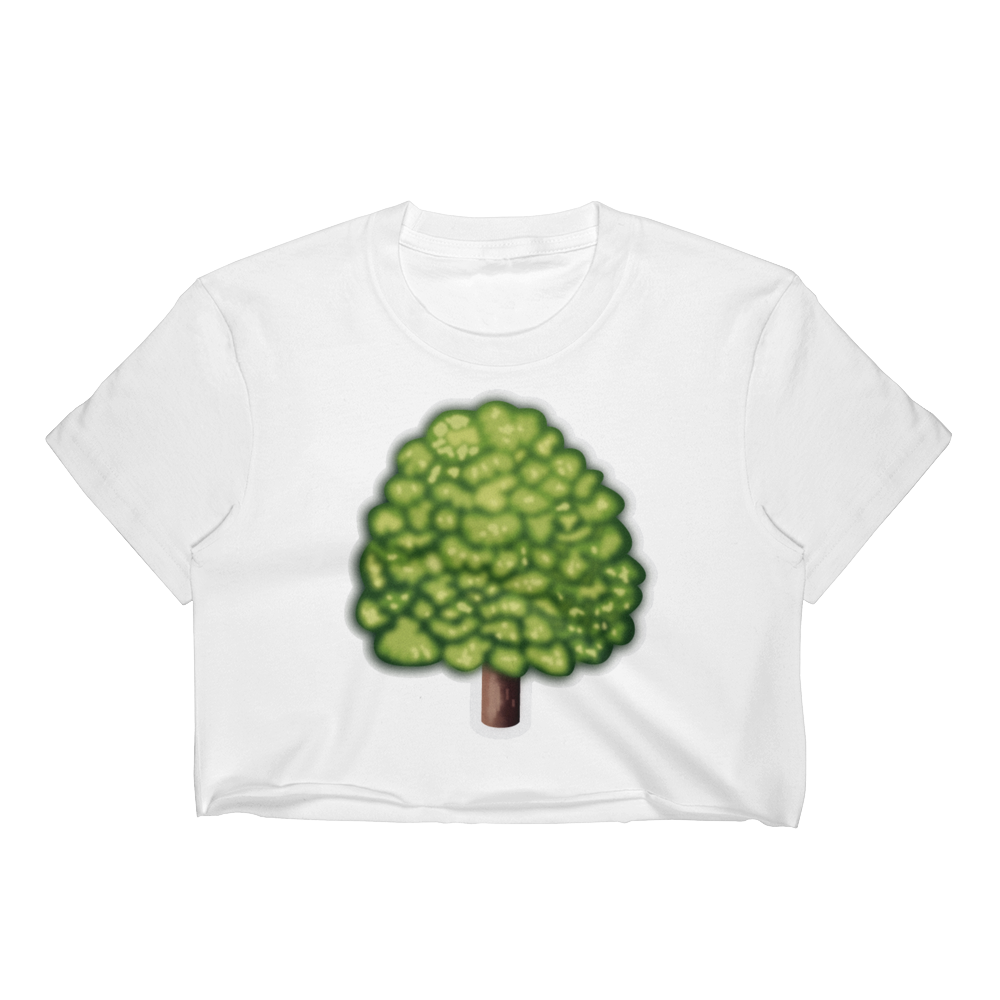Emoji Crop Top T-Shirt - Deciduous Tree-Just Emoji