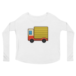 Women's Emoji Long Sleeve T-Shirt - Delivery Truck-Just Emoji