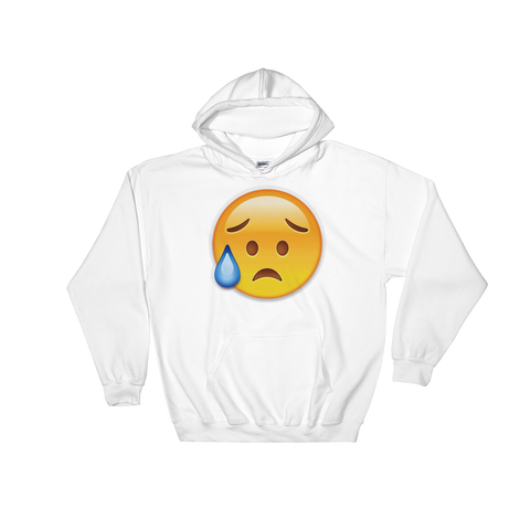 Emoji Hoodie - Disappointed But Relieved Face-Just Emoji