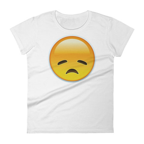 Women's Emoji T-Shirt - Disappointed Face-Just Emoji