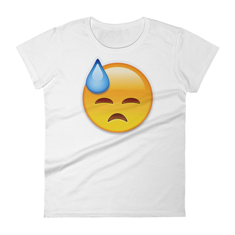 Women's Emoji T-Shirt - Face With Cold Sweat-Just Emoji
