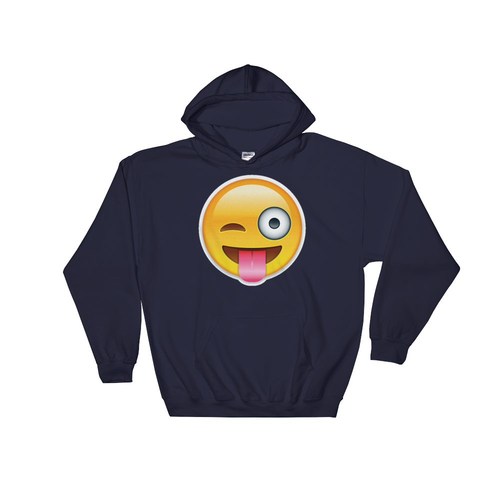 Emoji Hoodie - Face With Stuck Out Tongue And Winking Eye-Just Emoji